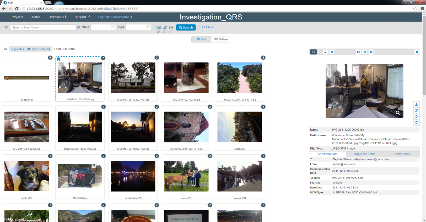 Rapidly review Images and video files with a deduplicated gallery view.